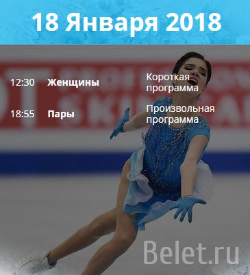 18 января 2018 Женщины и пары на чемпионате Европы по фигурному катанию